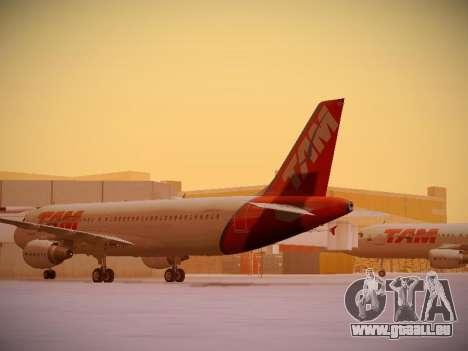 Airbus A320-214 TAM Airlines für GTA San Andreas zurück linke Ansicht