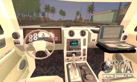 Hummer H2 Colombian Police pour GTA San Andreas sur la vue arrière gauche