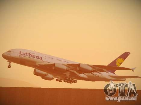 Airbus A380-800 Lufthansa pour GTA San Andreas vue de dessus