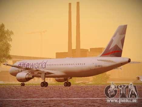Airbus A320-214 LAN Oneworld pour GTA San Andreas sur la vue arrière gauche