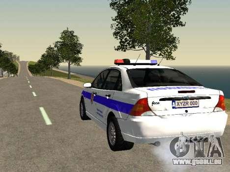 Ford Focus Police de la région de Nijni Novgorod pour GTA San Andreas sur la vue arrière gauche