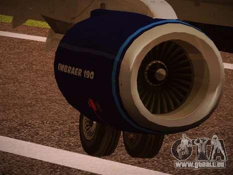 Embraer E190 Azul Tudo Azul pour GTA San Andreas vue de dessus