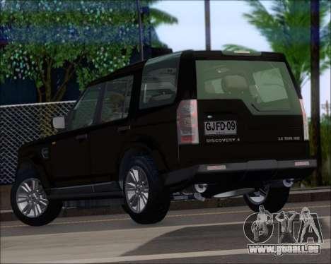 Land Rover Discovery 4 für GTA San Andreas zurück linke Ansicht