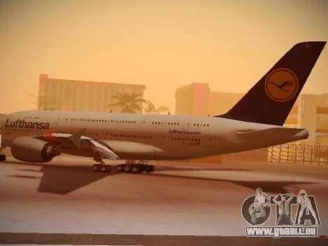 Airbus A380-800 Lufthansa pour GTA San Andreas sur la vue arrière gauche