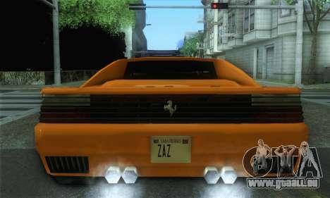 Cheetah Testarossa pour GTA San Andreas sur la vue arrière gauche