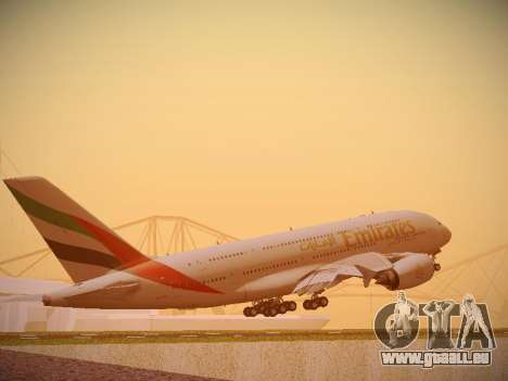 Airbus A380-800 Emirates pour GTA San Andreas vue de droite