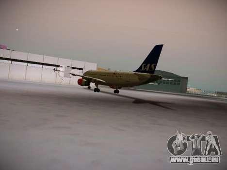 Airbus A319-132 Scandinavian Airlines für GTA San Andreas zurück linke Ansicht