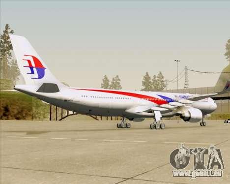 Airbus A330-323 Malaysia Airlines für GTA San Andreas Rückansicht