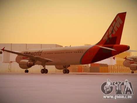 Airbus A320-214 TAM Oneworld pour GTA San Andreas sur la vue arrière gauche