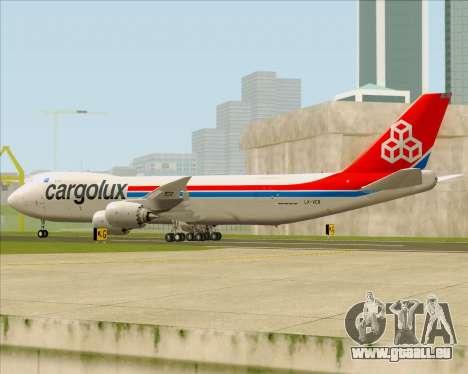 Boeing 747-8 Cargo Cargolux pour GTA San Andreas sur la vue arrière gauche