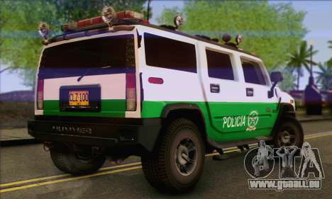 Hummer H2 Colombian Police für GTA San Andreas linke Ansicht