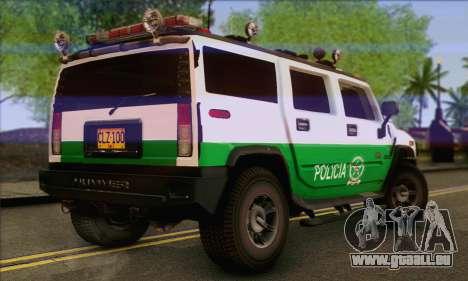 Hummer H2 Colombian Police pour GTA San Andreas laissé vue