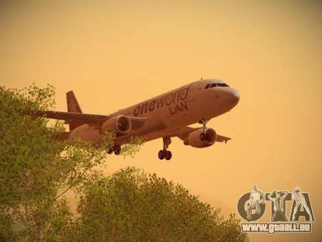 Airbus A320-214 LAN Oneworld für GTA San Andreas Unteransicht