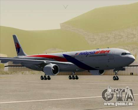 Airbus A330-323 Malaysia Airlines pour GTA San Andreas sur la vue arrière gauche