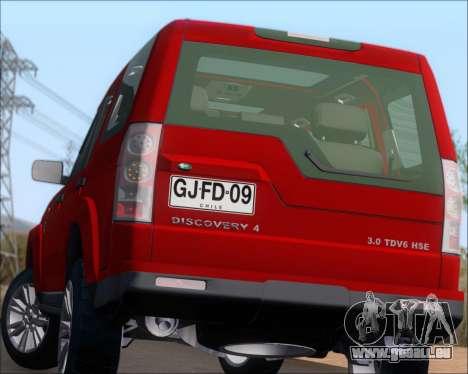 Land Rover Discovery 4 für GTA San Andreas Unteransicht