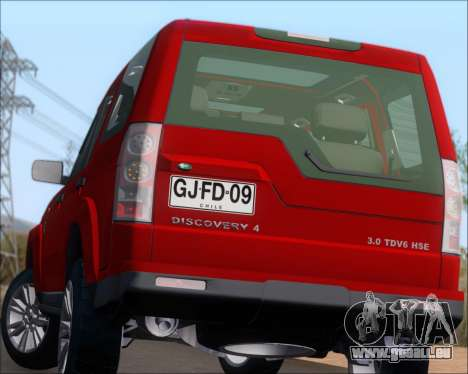 Land Rover Discovery 4 pour GTA San Andreas vue de dessous