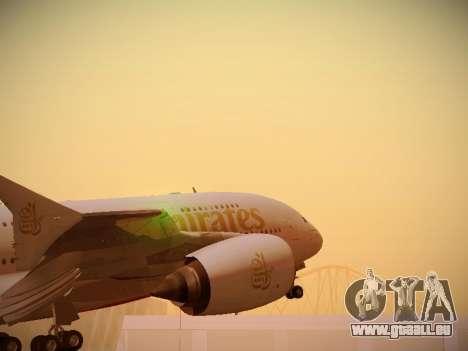 Airbus A380-800 Emirates für GTA San Andreas Rückansicht