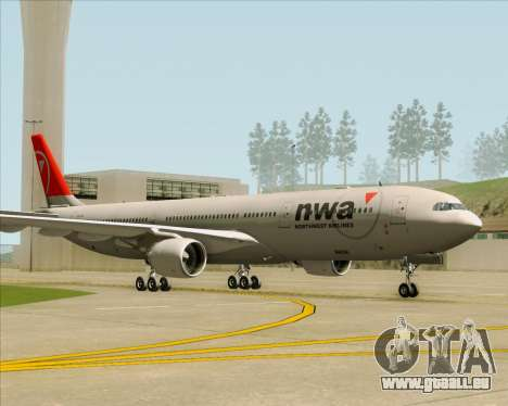 Airbus A330-300 Northwest Airlines für GTA San Andreas rechten Ansicht