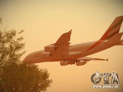 Airbus A380-800 Emirates pour GTA San Andreas vue de dessous