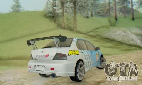 Mitsubishi Lancer Turkis Drift Aem pour GTA San Andreas sur la vue arrière gauche