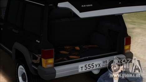 Jeep Cherokee pour GTA San Andreas vue de dessus