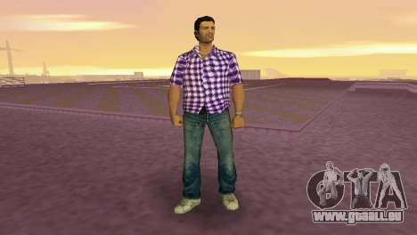Kockas polo - lila T-Shirt für GTA Vice City zweiten Screenshot