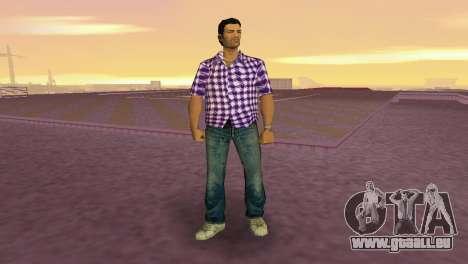 Kockas polo - lila T-Shirt für GTA Vice City zweiten Screenshot