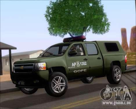 Chevrolet Silverado Gope pour GTA San Andreas laissé vue