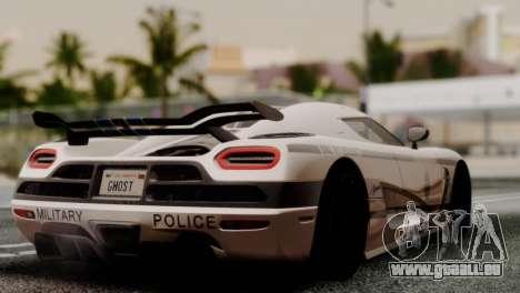 Koenigsegg Agera R pour GTA San Andreas sur la vue arrière gauche