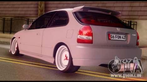 Honda Civic 1.4 Hatchback pour GTA San Andreas laissé vue