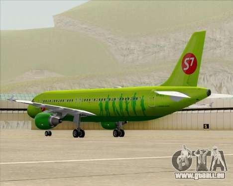 Airbus A320-214 S7-Siberia Airlines pour GTA San Andreas sur la vue arrière gauche