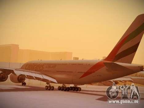Airbus A380-800 Emirates pour GTA San Andreas sur la vue arrière gauche