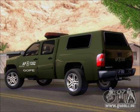 Chevrolet Silverado Gope pour GTA San Andreas sur la vue arrière gauche
