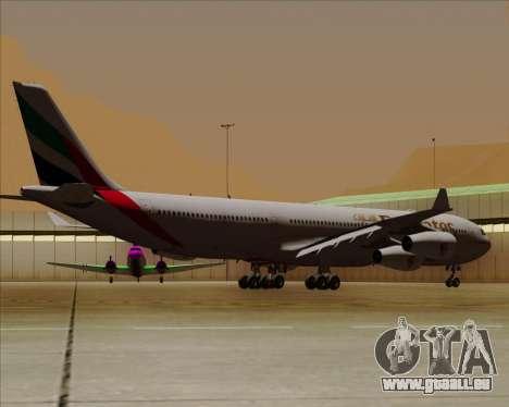 Airbus A340-313 Emirates für GTA San Andreas Rückansicht