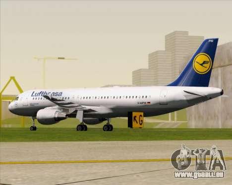 Airbus A320-211 Lufthansa pour GTA San Andreas sur la vue arrière gauche