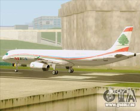 Airbus A321-200 Middle East Airlines (MEA) für GTA San Andreas Rückansicht