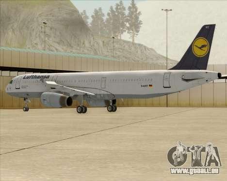 Airbus A321-200 Lufthansa für GTA San Andreas obere Ansicht