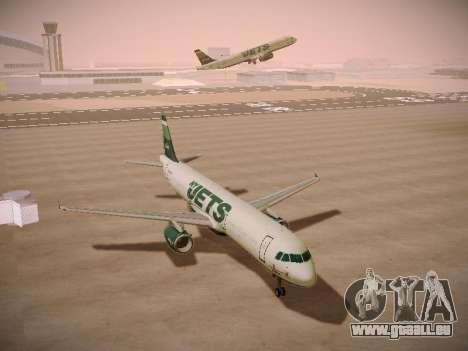 Airbus A321-232 jetBlue NYJets pour GTA San Andreas vue arrière