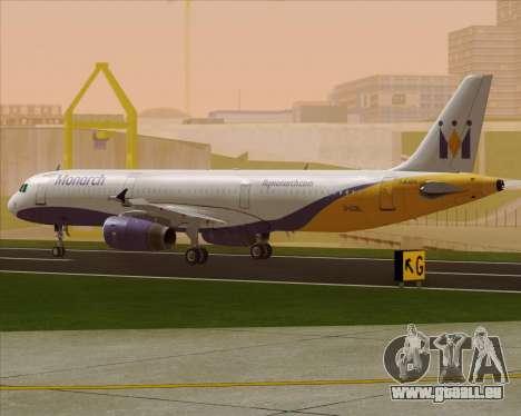 Airbus A321-200 Monarch Airlines pour GTA San Andreas sur la vue arrière gauche