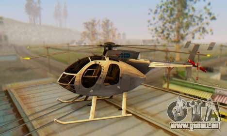 Le MD500E hélicoptère v3 pour GTA San Andreas laissé vue