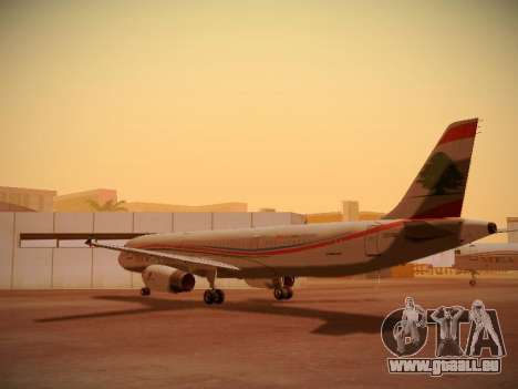 Airbus A321-232 Middle East Airlines für GTA San Andreas zurück linke Ansicht