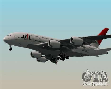 Airbus A380-800 Japan Airlines (JAL) pour GTA San Andreas sur la vue arrière gauche