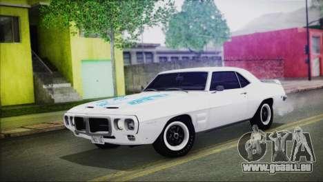 Pontiac Firebird Trans Am Coupe (2337) 1969 pour GTA San Andreas vue de dessous