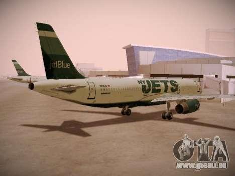 Airbus A321-232 jetBlue NYJets pour GTA San Andreas sur la vue arrière gauche