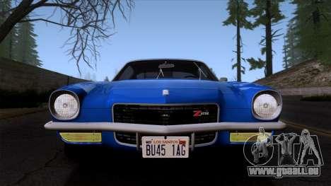 Chevrolet Camaro Z28 1970 (ImVehFt) pour GTA San Andreas vue arrière