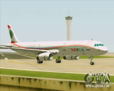 Airbus A321-200 Middle East Airlines (MEA) für GTA San Andreas zurück linke Ansicht