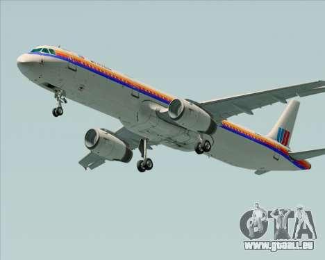 Airbus A321-200 United Airlines für GTA San Andreas rechten Ansicht