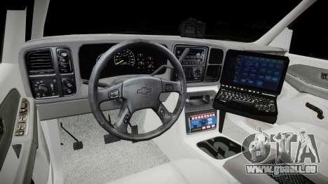 Chevrolet Suburban Undercover 2003 Grey Rims pour GTA 4 Vue arrière