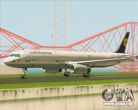 Airbus A321-200 Lufthansa für GTA San Andreas zurück linke Ansicht