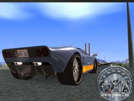 Métal classique de l'indicateur de vitesse pour GTA San Andreas deuxième écran